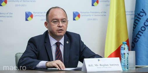 Ministrul Aurescu a deschis Forumul Tinerilor din cadrul Comunităţii Democraţiilor