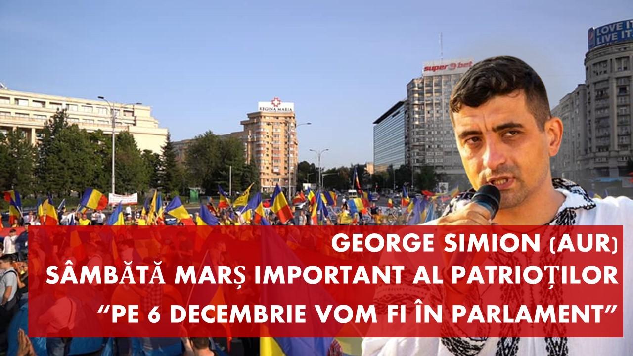 Sâmbătă marș important al patrioților români: pe 6 decembrie vom fi în parlament