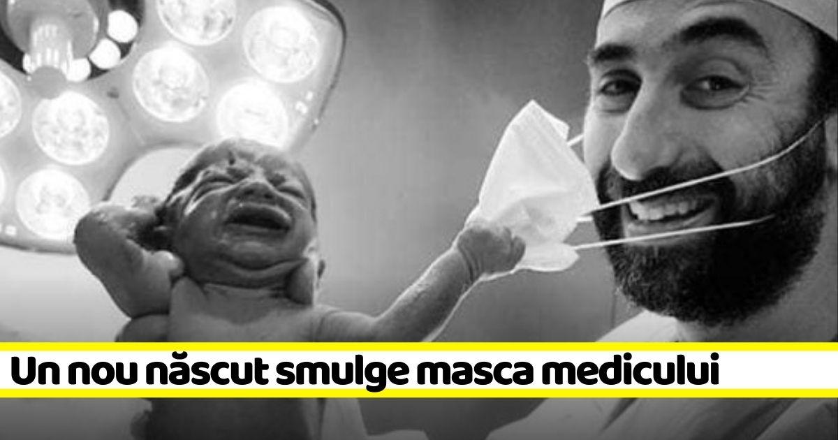 FOTOGRAFIA ANULUI: Un nou-născut smulge masca medicului imediat după ce vine pe lume