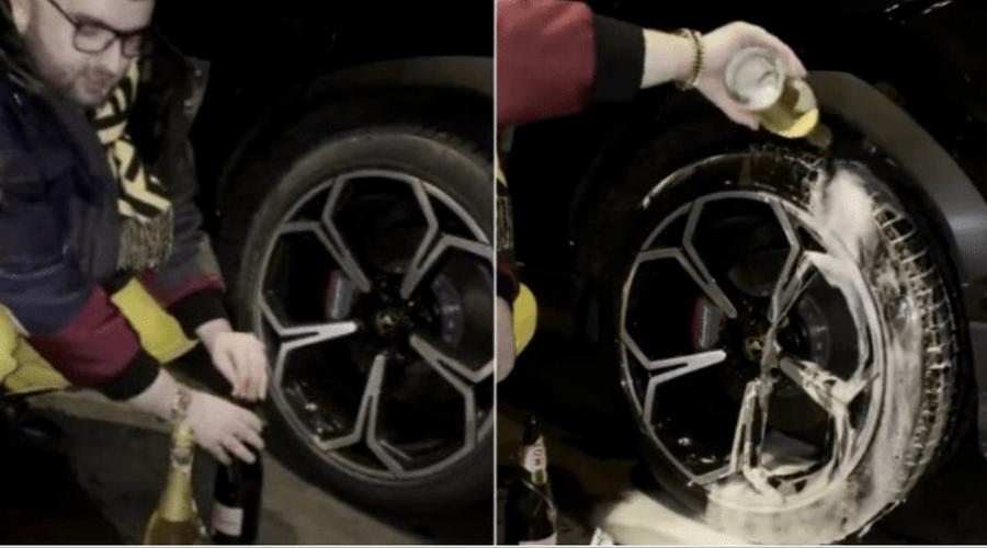 Culmea aroganței: Victoraș Micula și-a spălat roata de la Lamborghini cu șampanie scumpă