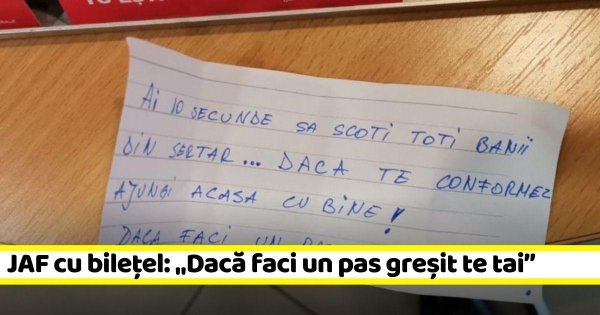 """JAF cu bilețel: """"Dacă faci un pas greșit te tai"""" (FOTO)"""