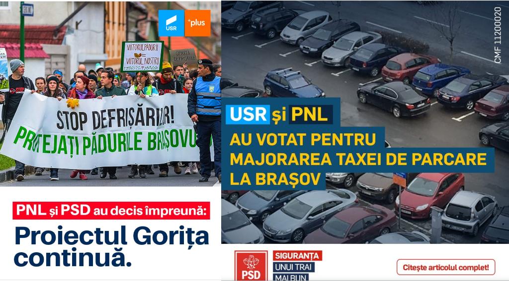 """""""Ba pe-a mă-…"""", în varianta de campanie electorală la Brașov, după ședința de Consiliu Local. USR îi arată cu degetul pe cei din PSD și PNL, PSD pe cei din PNL și USR, PNL se abține pe moment – Biz Brasov"""