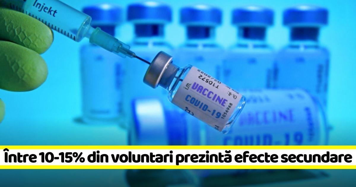 Între 10-15% din voluntarii vaccinurilor Pfizer și Moderna au avut efecte secundare vizibile semnificativ