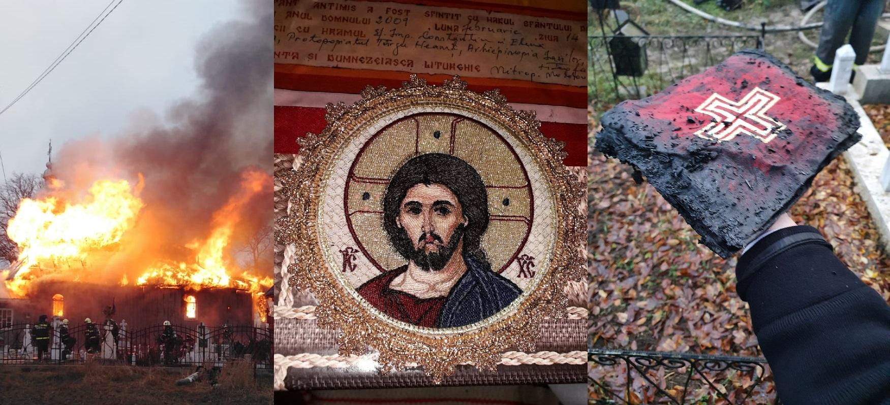 Mare este Dumnezeu! Minunea de la Râșca – Drăgănești: Antimisul Bisericii cu Icoana Mântuitorului a rămas nears după un incendiu care a topit și clopotele