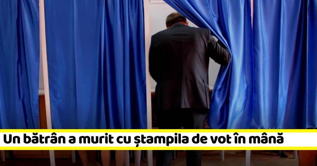 Un bătrân a murit cu ștampila de vot în mână