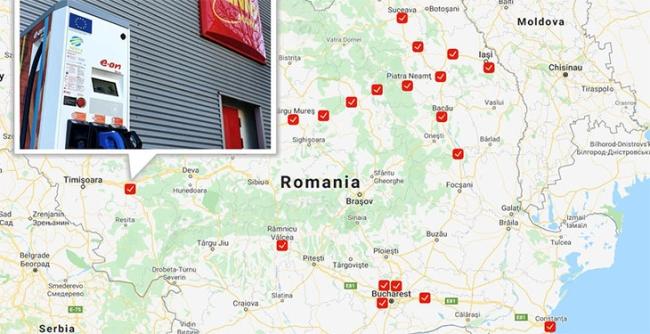 Stație de încărcare rapidă a autovehiculelor electrice, în parcarea unui magazin din Lugoj