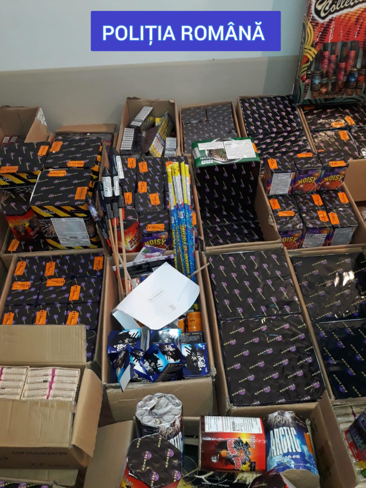 Gorj: Peste 56.000 de articole pirotehnice, confiscate în urma a 5 percheziții