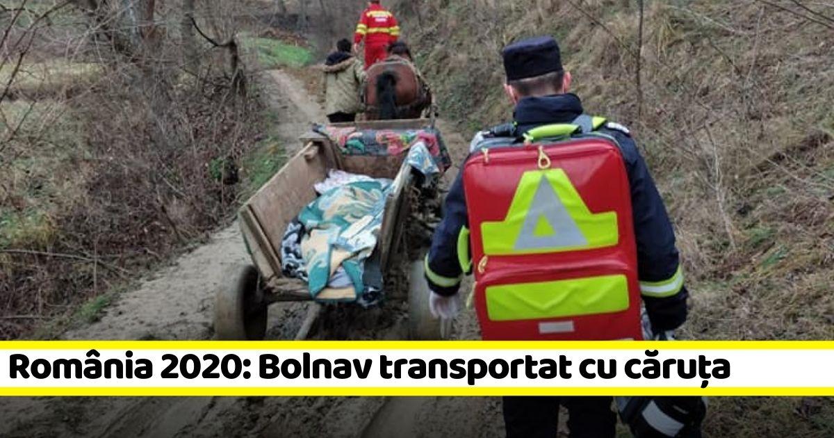 România 2020, ca în Evul Mediu: bolnav transportat cu căruța până la ambulanță