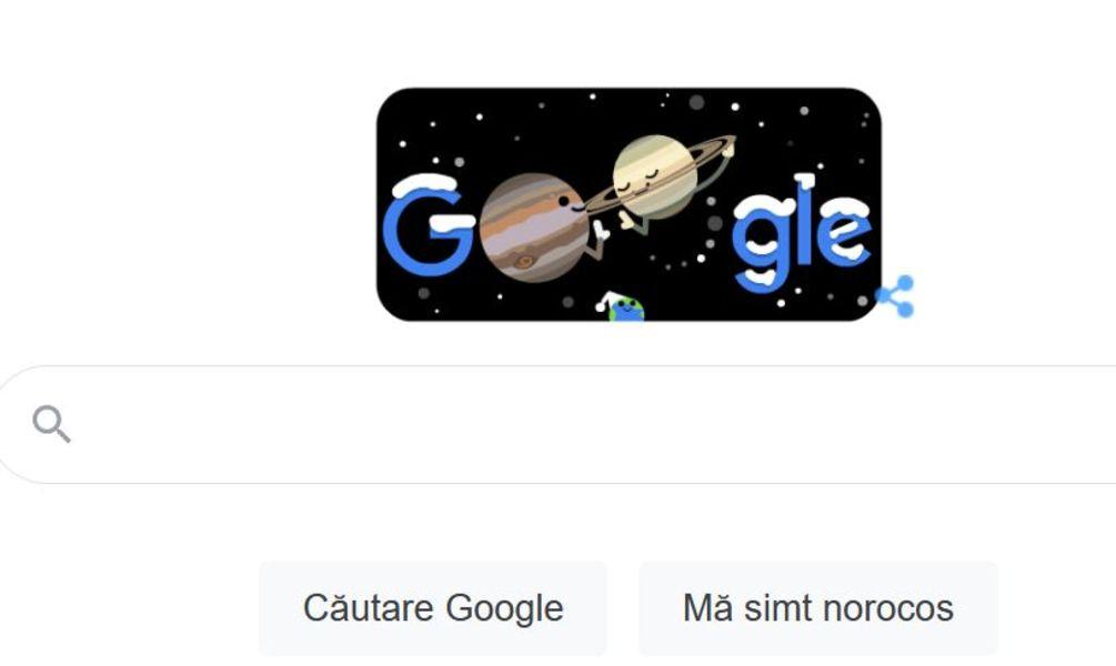 Google celebrează printr-un doodle animat conjuncția Jupiter – Saturn