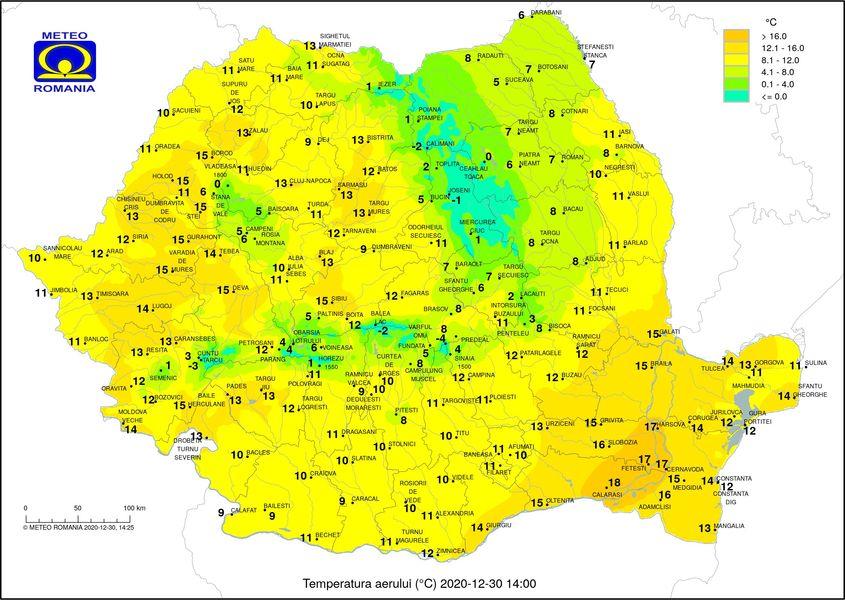 Sfârșit de an deosebit de călduros – Marți au fost 19 grade în țară, iar miercuri 18 grade
