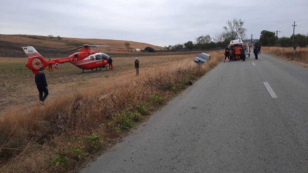 Fată rănită într-un accident, transportată cu elicopterul la spital